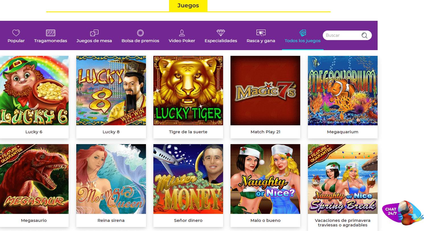 Lista Juegos SpinSamba Casino