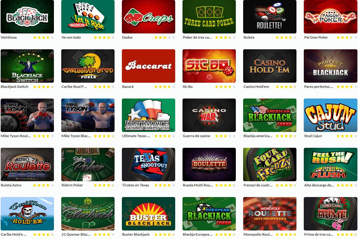 Lista de juegos Casino Estrella