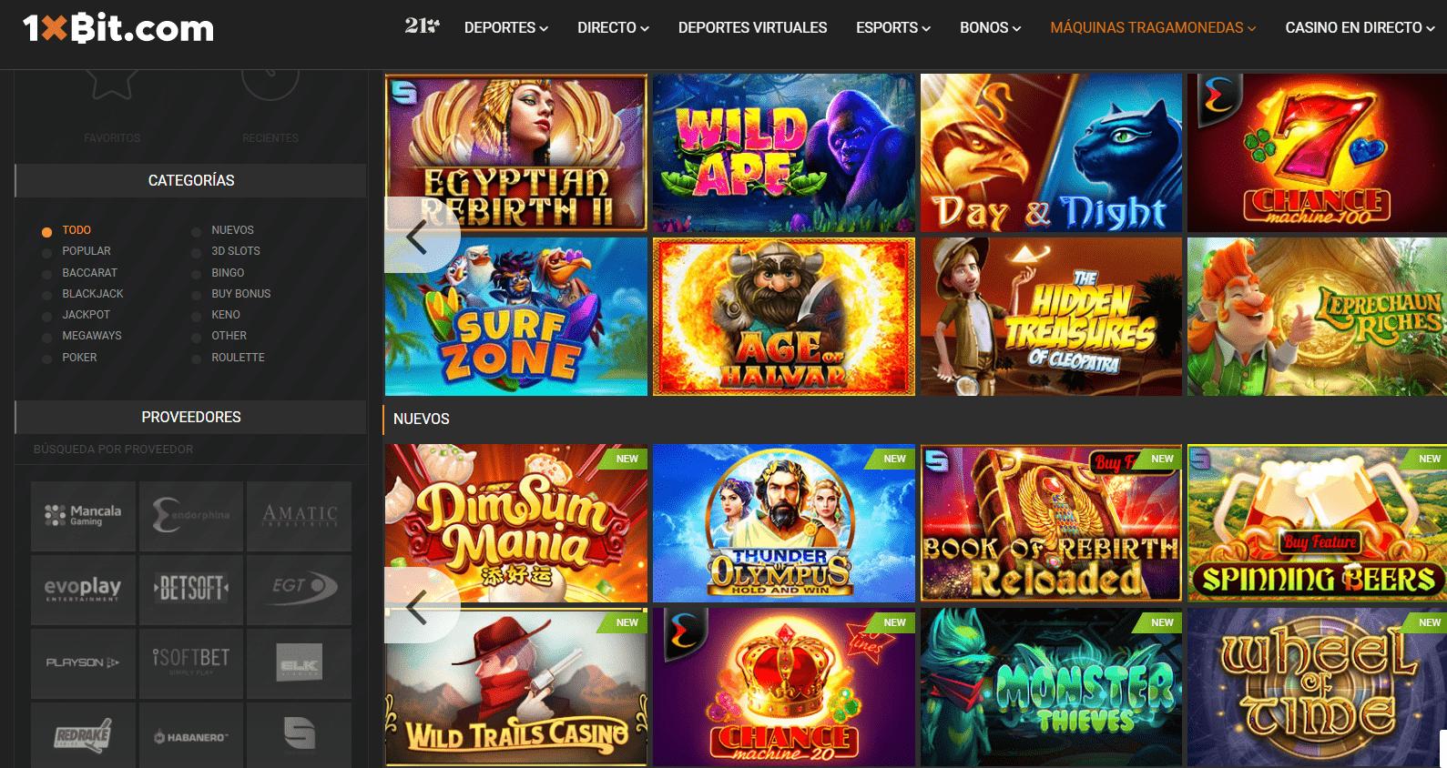 Lista de juegos 1xbit Casino