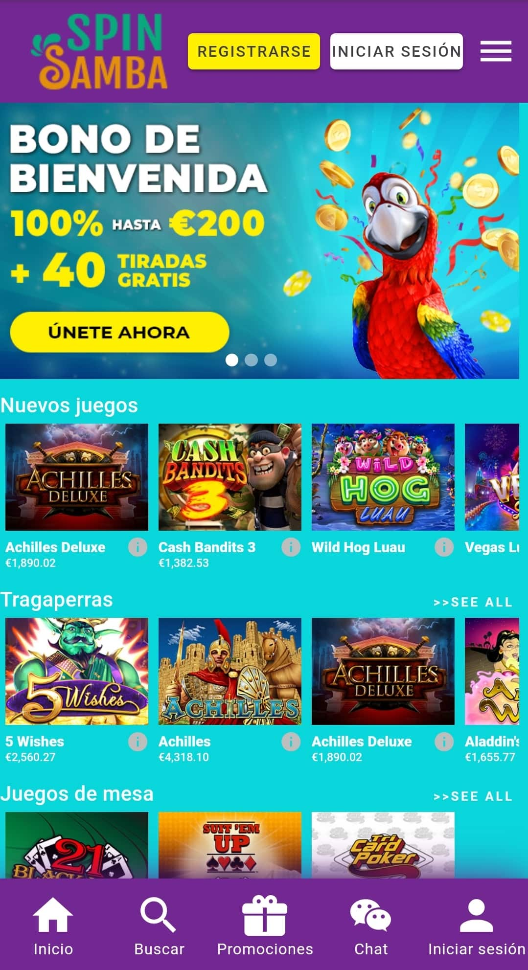 casino movil spin samba