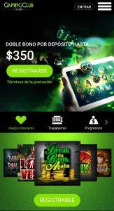 Gaming Club Casino Versión Móvil