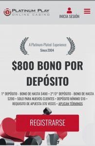 Platinum Play Casino Versión Móvil