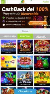 All CashBack Casino Versión Móvil
