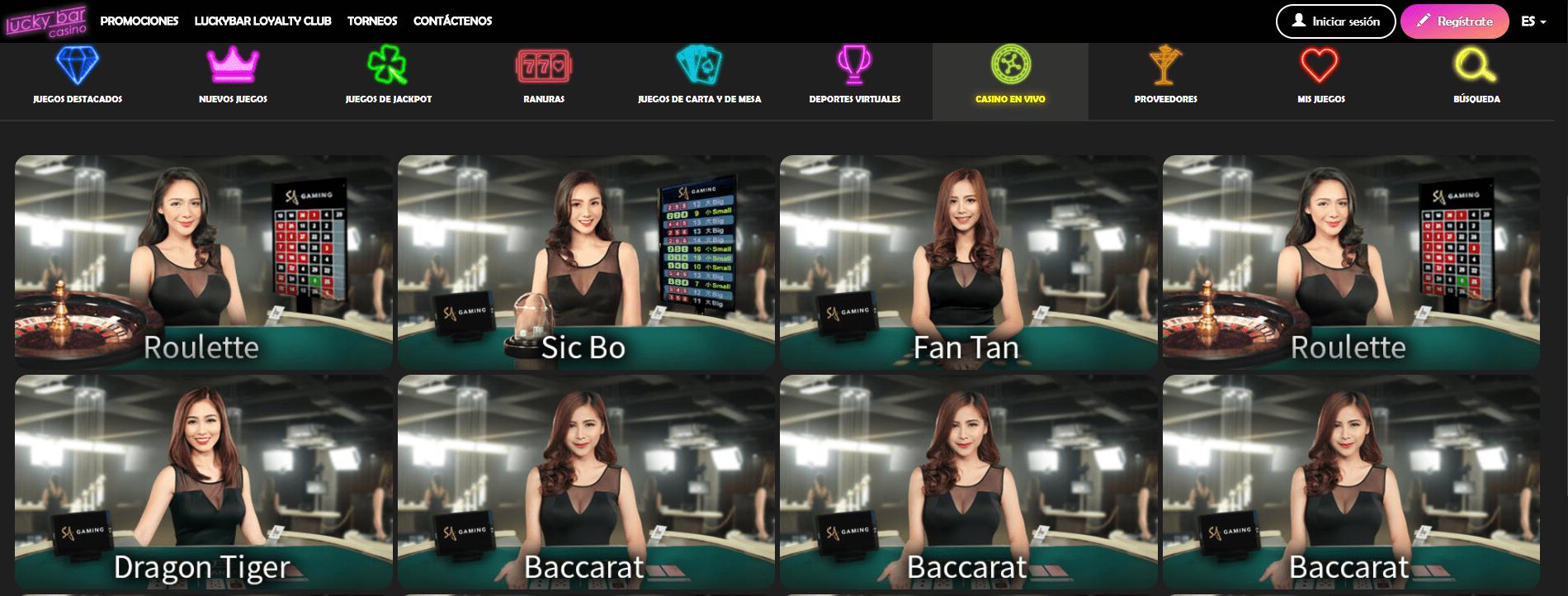 salas en vivo lucky bar casino