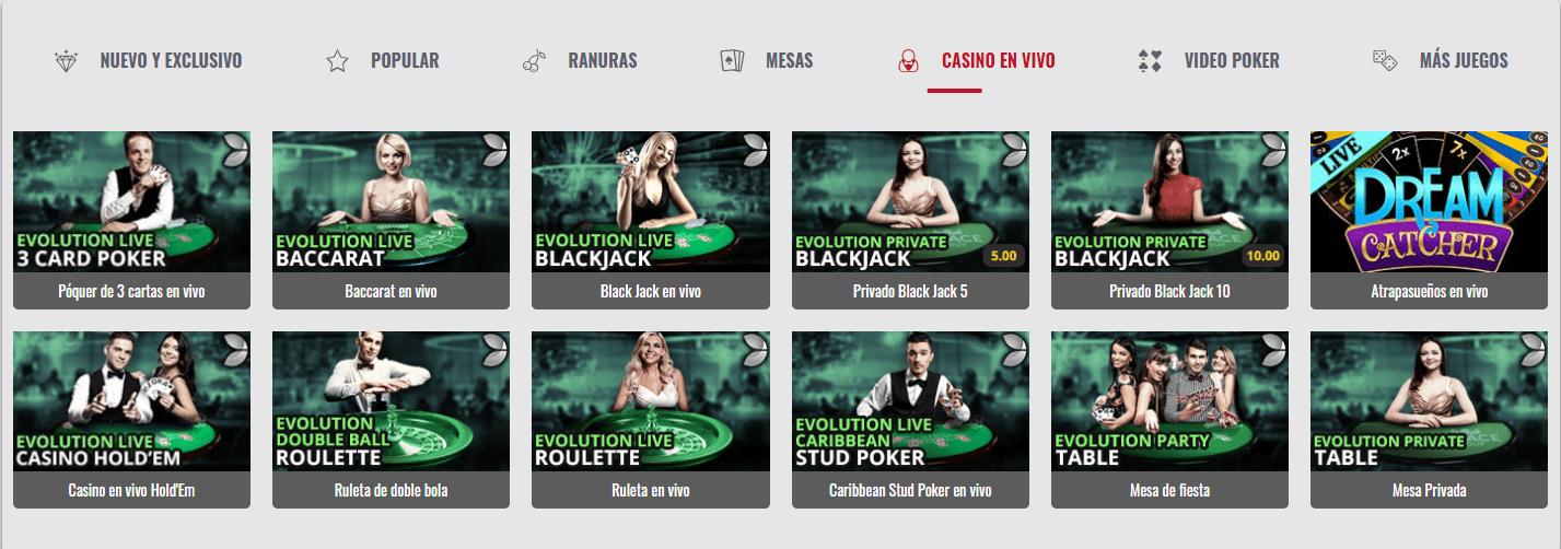 Casino en vivo Platinum Play Casino