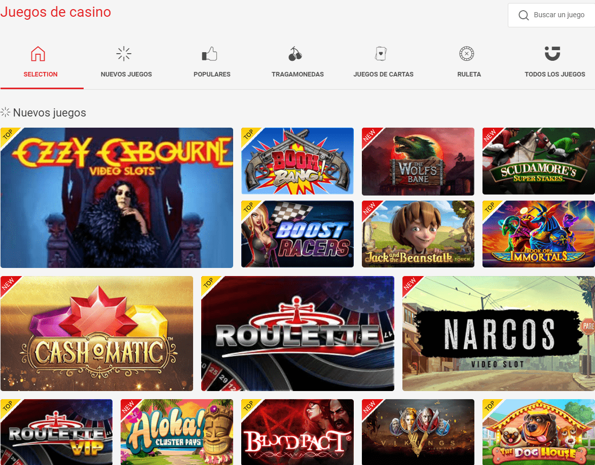 Lista de juegos en circus casino