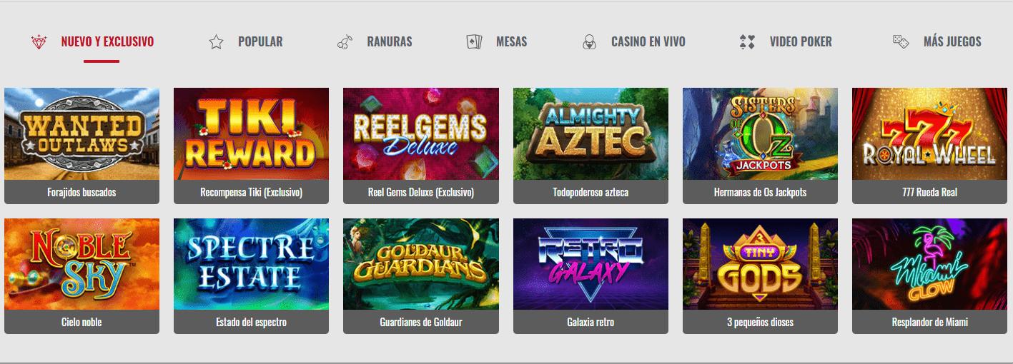 Lista de juegos Platinum Play Casino