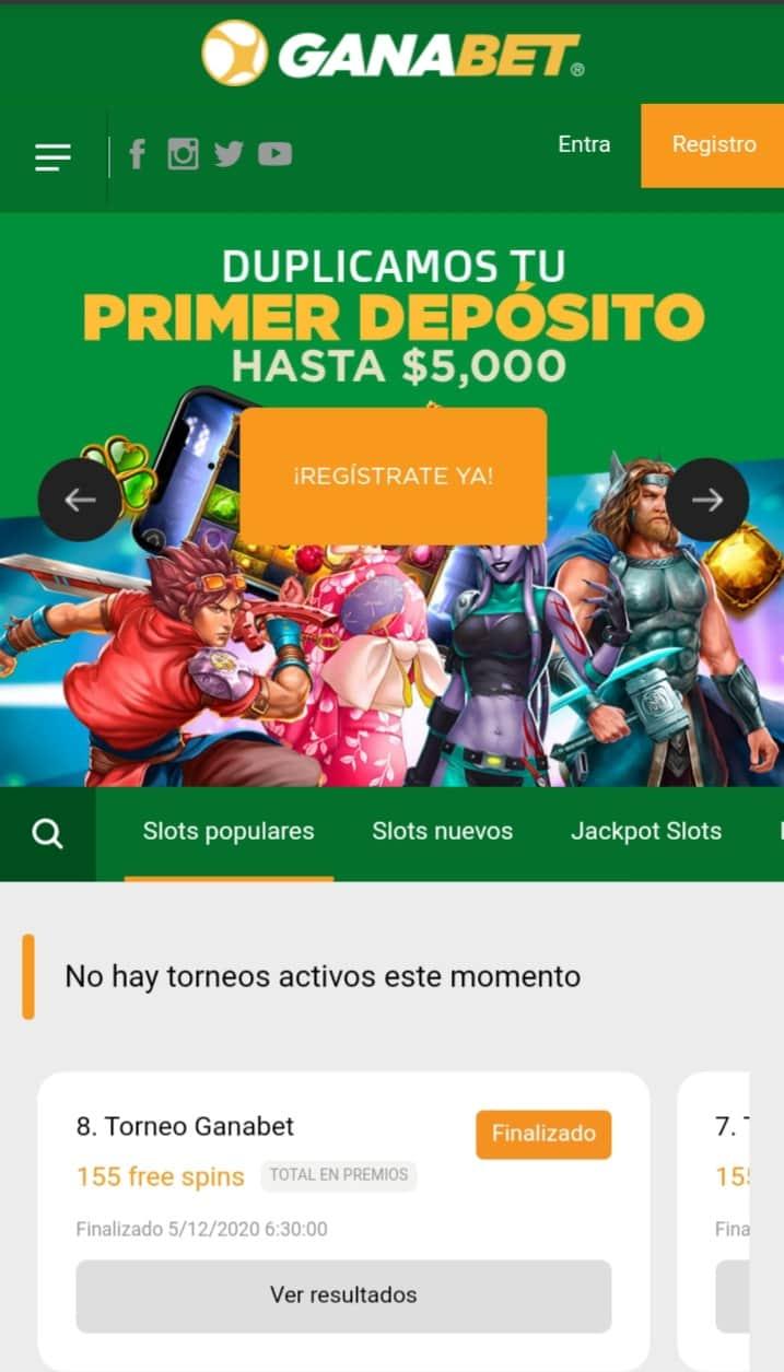 Ganabet Casino versión móvil
