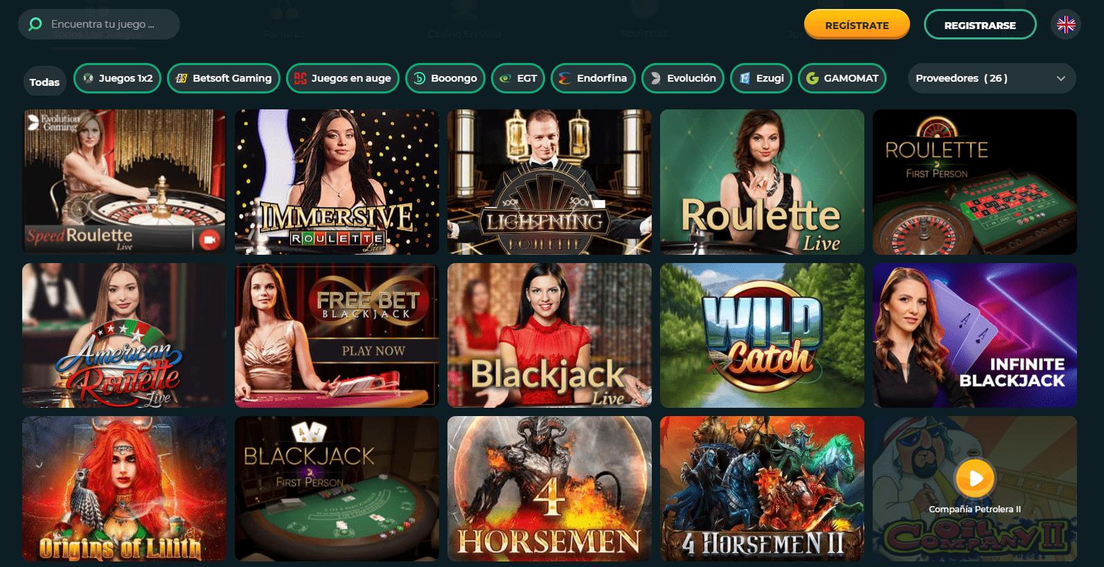 Roku Casino lista de juegos