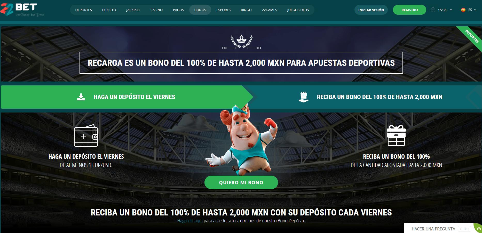 22Bet Casino promociones de recarga
