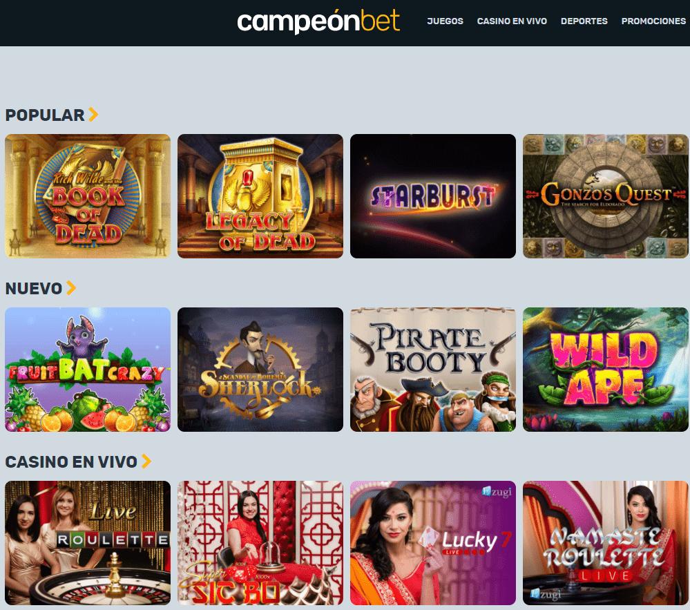 CampeonBet Casino juegos