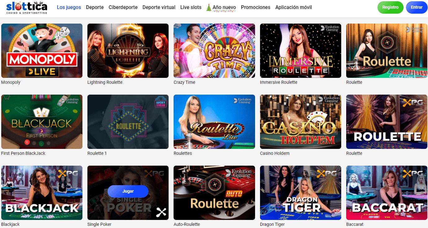 Casino en vivo Slottica Casino
