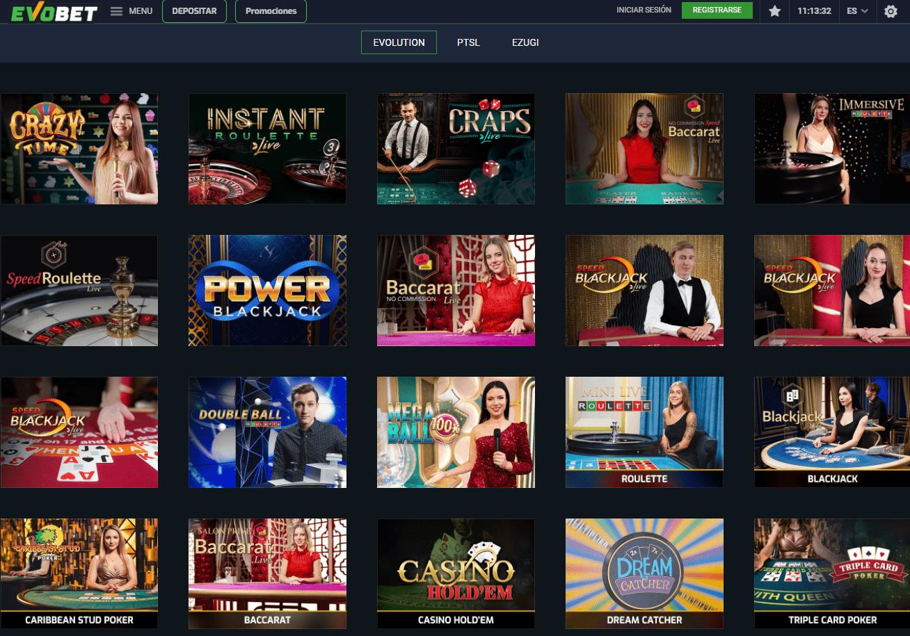 Las mejores mesas en vivo en EvoBet Casino