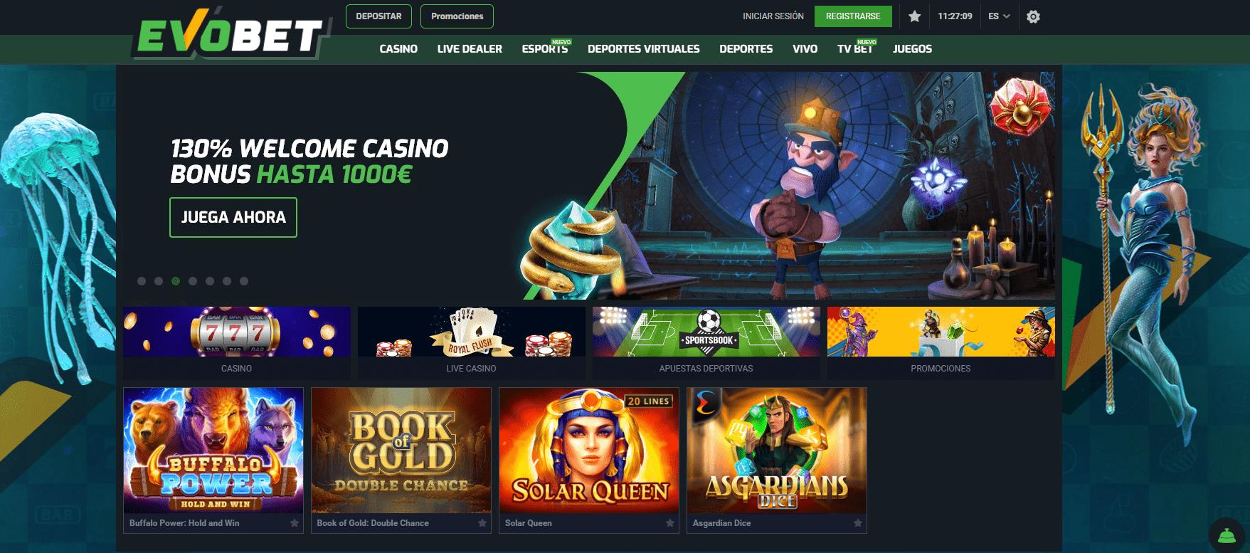 EvoBet Casino promoción de bienvenida