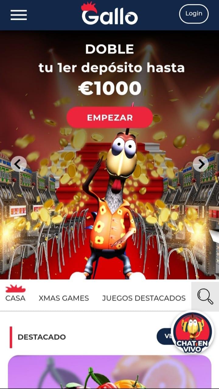 Gallo Casino versión móvil