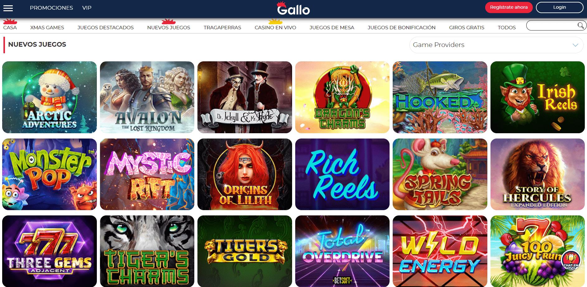 Lista de juegos Gallo Casino