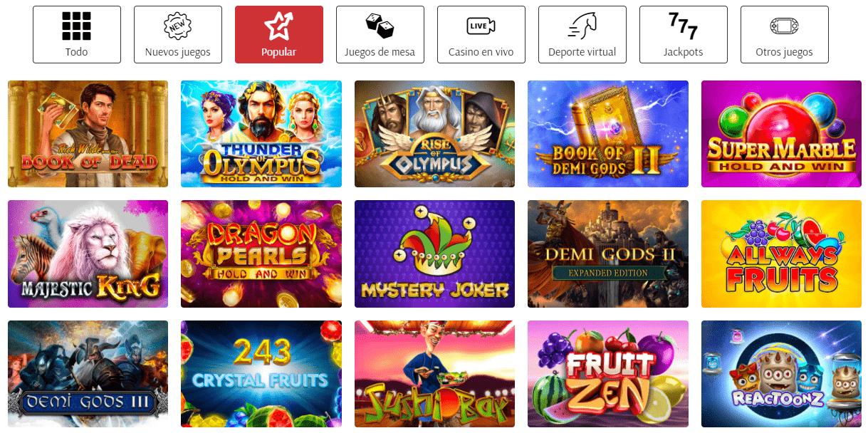 Lista de juegos Supercat casino