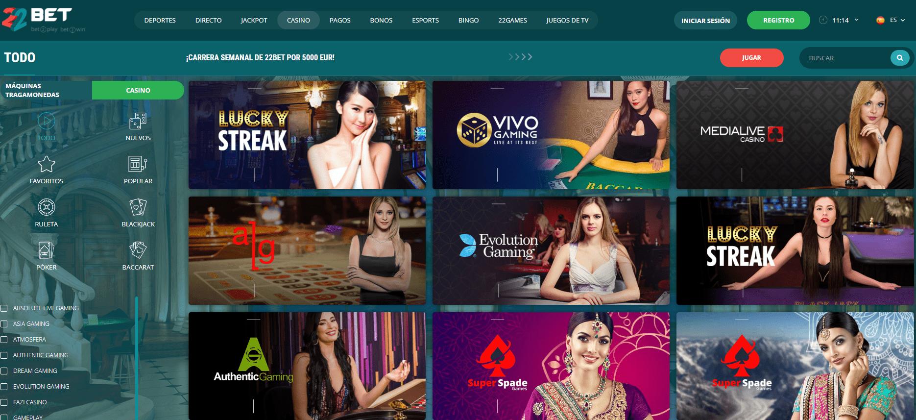 live 22bet casino