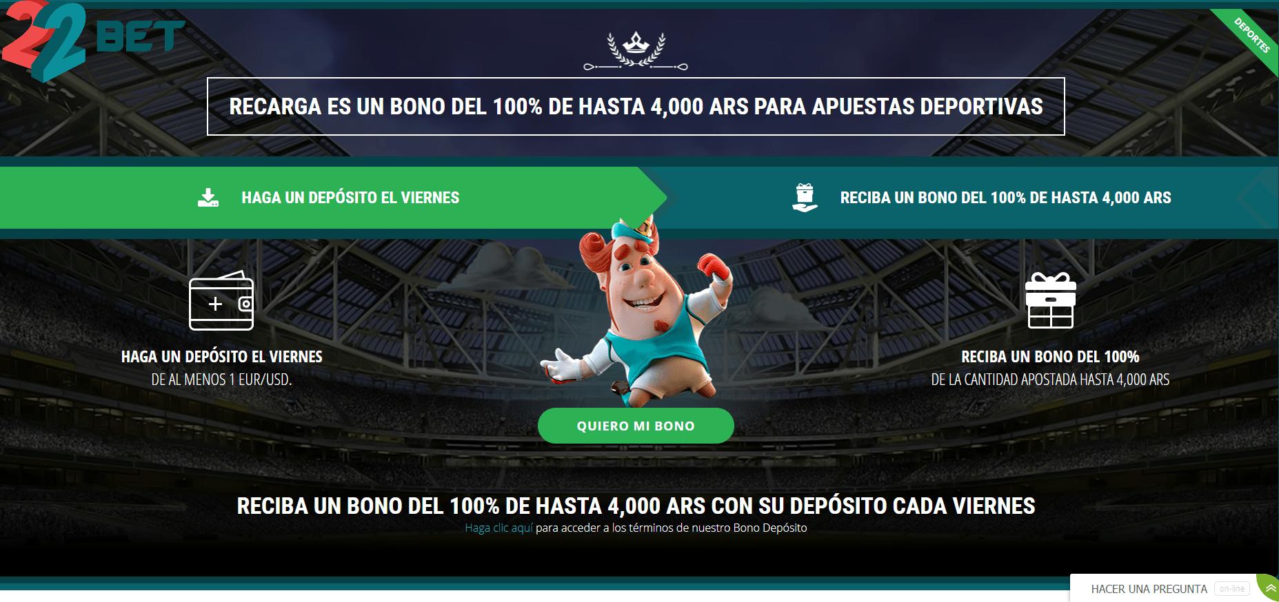 Promociones 22BetCasino Argentina