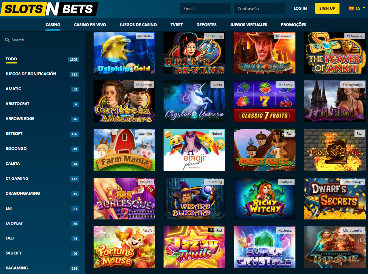 SlotsNBets Casino Juegos