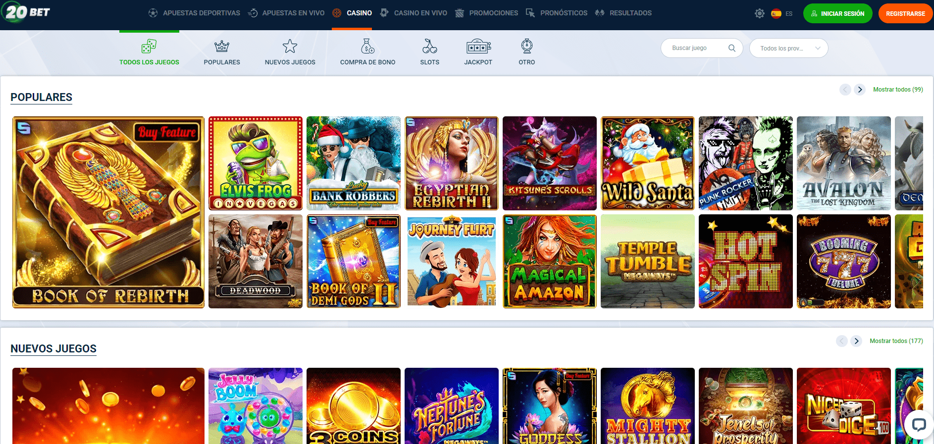 lista de juegos 20Bet Casino