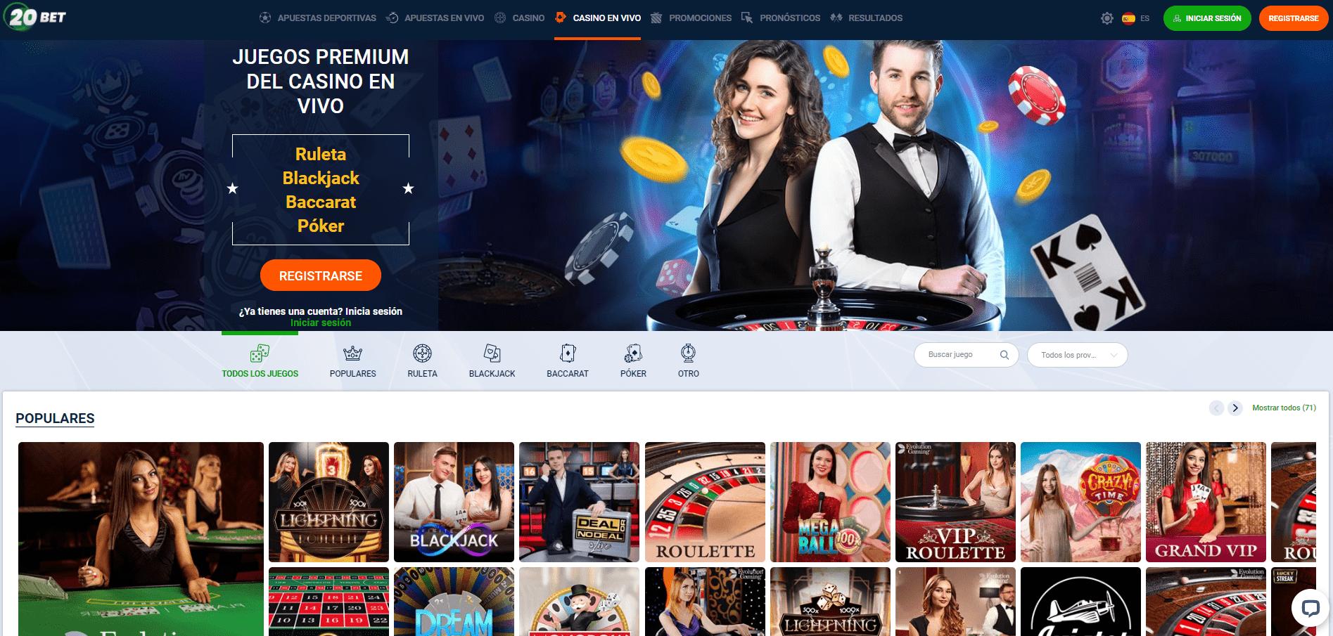 live en 20Bet Casino