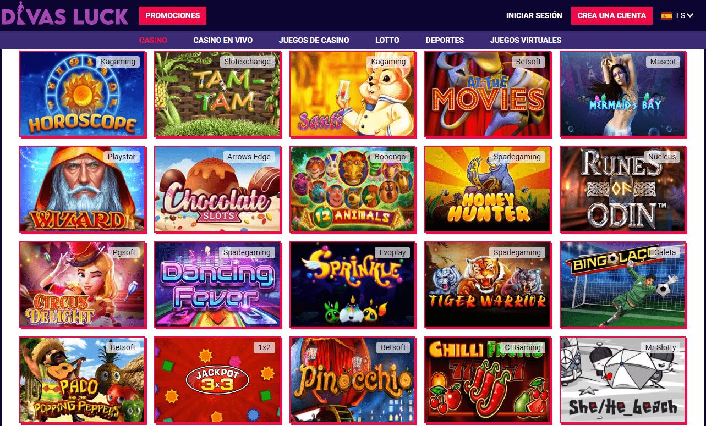 Lista juegos Divas Luck casino